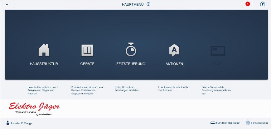 Free@home Hauptmenü